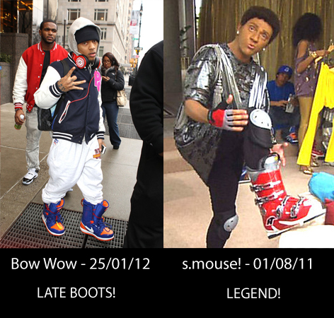 Bow Wow in Nike snowboard boots, Angry Boys s.mouse! in ski boots.